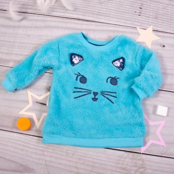 K-Baby Chlupáčková mikina Kočička s oušky - tyrkysová