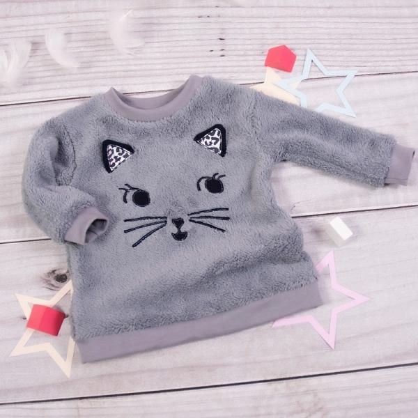 K-Baby Chlupáčková mikina Kočička s oušky - šedá
