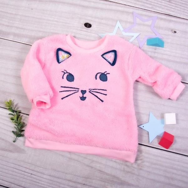 K-Baby Chlupáčková mikina Kočička s oušky - světle růžová