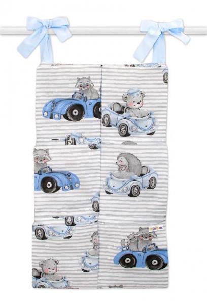 Bavlněný kapsář na postýlku Baby Nellys 6 kapes, Baby Car, modrá