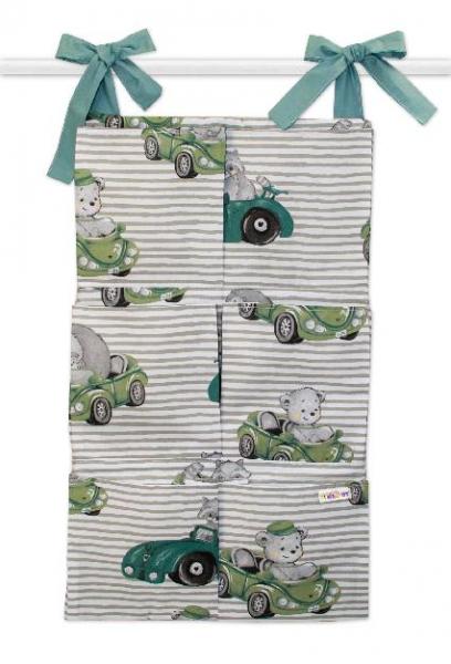 Bavlněný kapsář na postýlku Baby Nellys 6 kapes, Baby Car, zelená