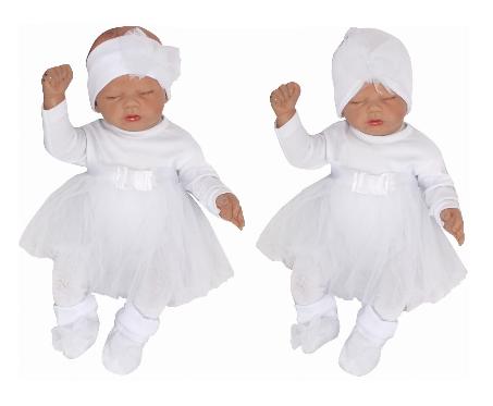 Z&Z 5-dílná soupravička sukničkobody, punčochy, čepička, čelenka, botičky - bílá