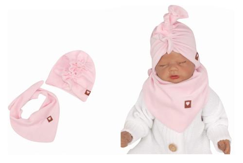 Z&Z Stylová dětská jarní/podzimní velurová čepice, turban s šátkem, sv. růžová