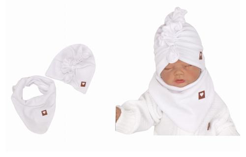 Z&Z Stylová dětská jarní/podzimní velurová čepice, turban s šátkem, bílá