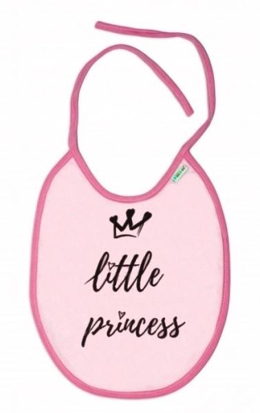 Nepromokavý bryndáček Baby Nellys velký Little princess, 24 x 23 cm - růžová