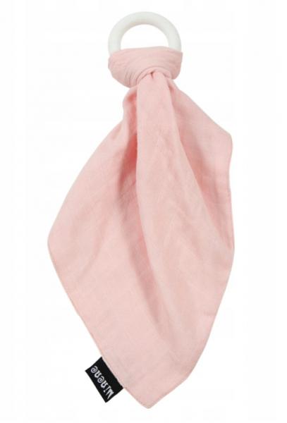 Minene Silikonové kousátko s mušelinovým přítulníčkem - růžové