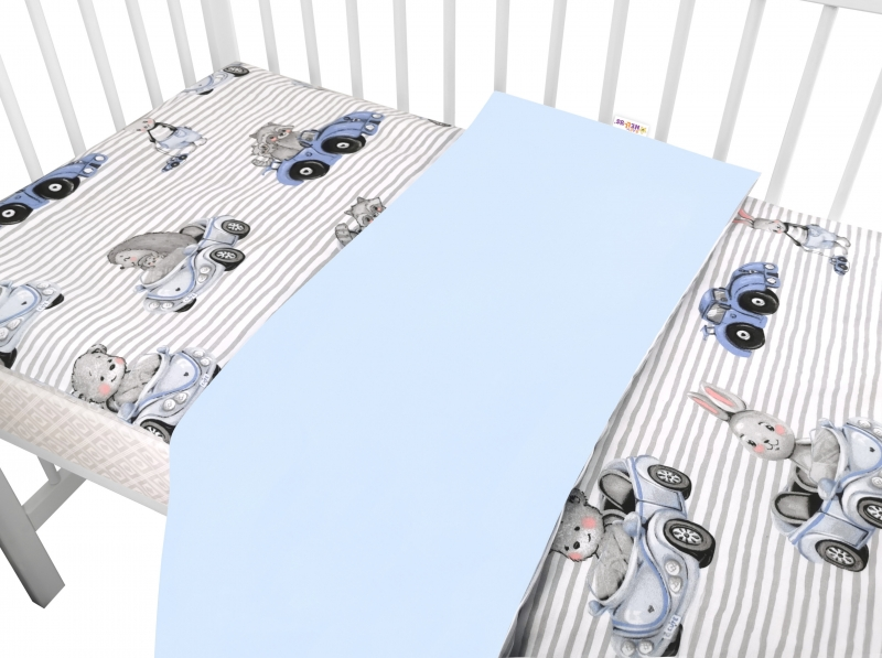 Baby Nellys 2-dílné bavlněné povlečení, Baby Car - modrá