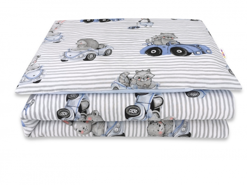 Baby Nellys 2-dílné bavlněné povlečení, Baby Car - modrá, 135 x 100 cm