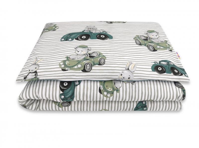 Baby Nellys 2-dílné bavlněné povlečení, Baby Car - zelená