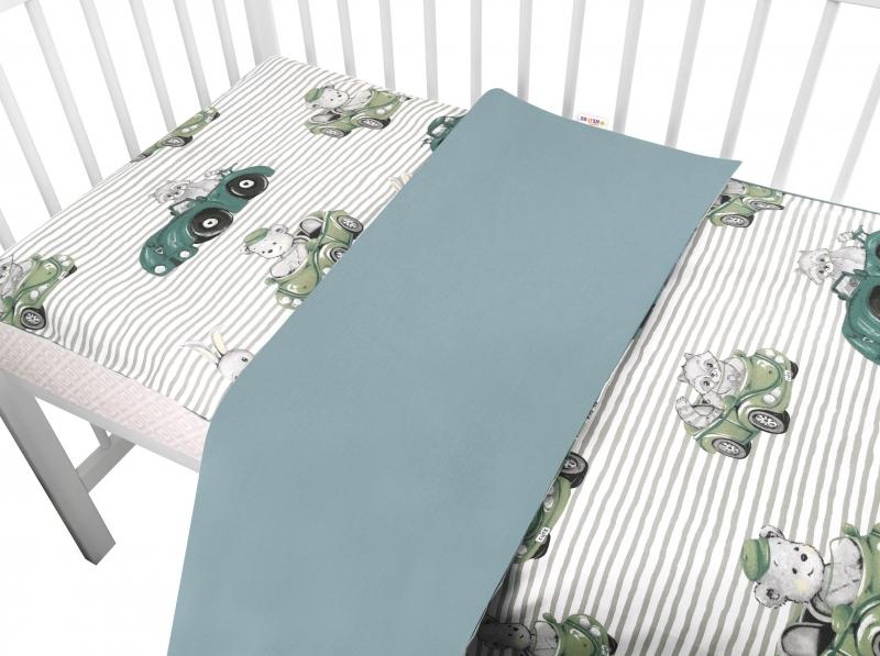 Baby Nellys 2-dílné bavlněné povlečení, Baby Car - zelená, 135 x 100 cm