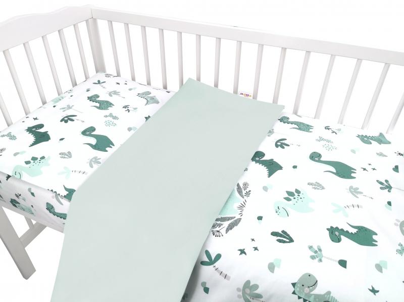 Baby Nellys 2-dílné bavlněné povlečení, Dino - zelená, 135 x 100