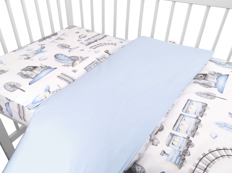 Baby Nellys 2-dílné bavlněné povlečení, Vláček - modrá, 135 x 100