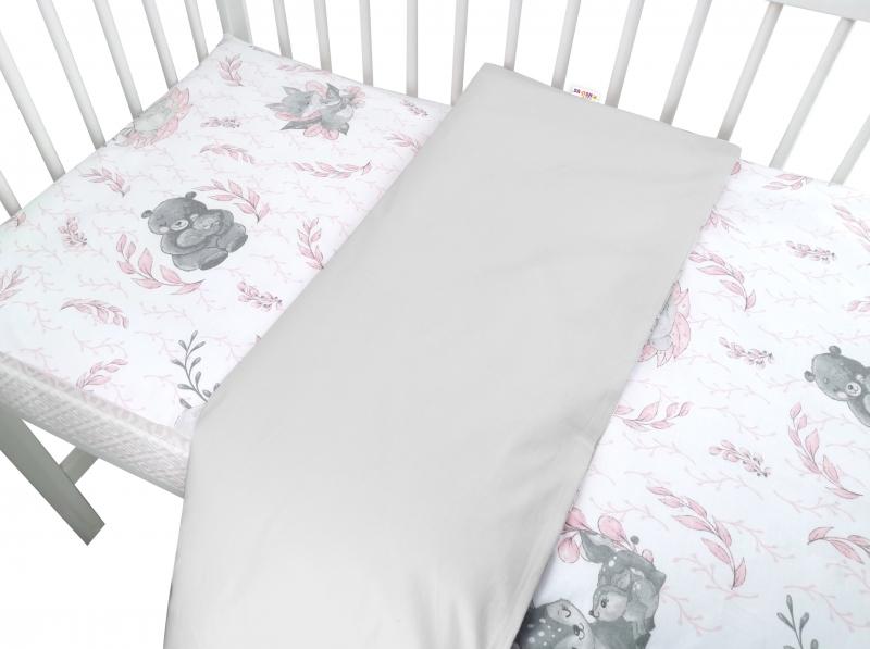 Baby Nellys 2-dílné bavlněné povlečení, LULU - růžová, šedá, 135 x 100