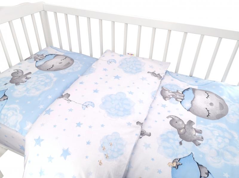 Baby Nellys 2-dílné bavlněné povlečení, Baby Elephant - modrý, 135 x 100