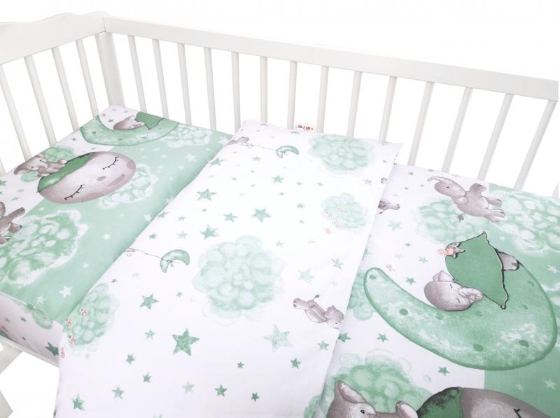 Baby Nellys 2-dílné bavlněné povlečení, Baby Elephant - mátový, 135 x 100