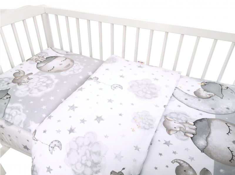 Baby Nellys 2-dílné bavlněné povlečení, Baby Elephant - šedá