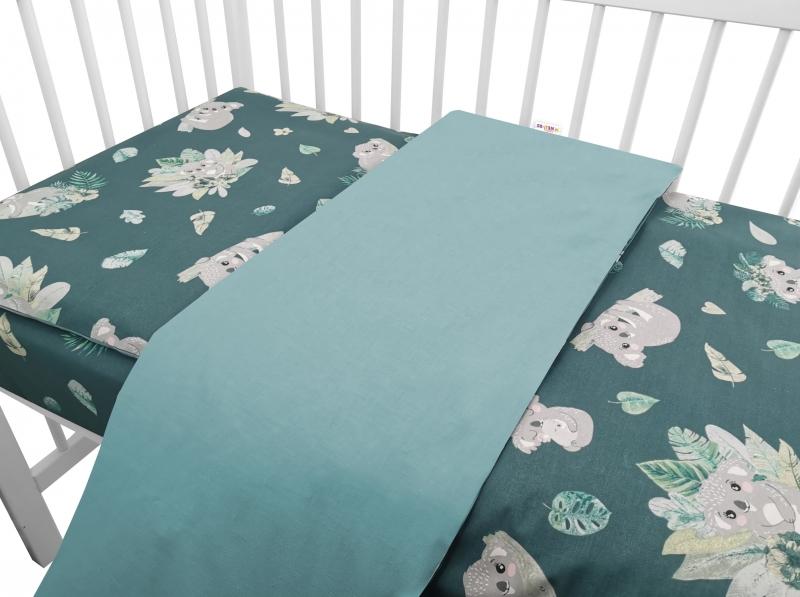Baby Nellys 2-dílné bavlněné povlečení, Tropical Koala - zelená, 135 x 100