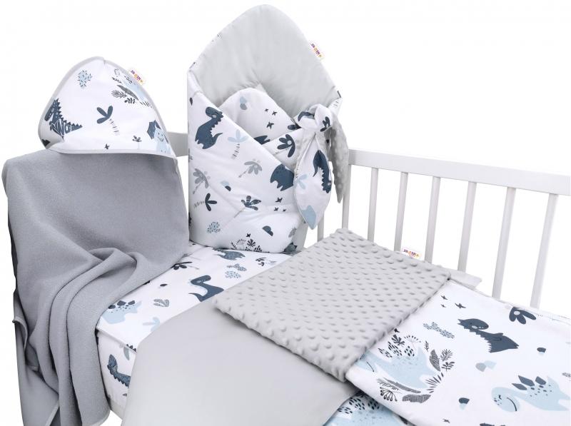 Baby Nellys 6-ti dílná výhodná sada s dárkem pro miminko, 135 x100 cm - Dino, modrý, šedý