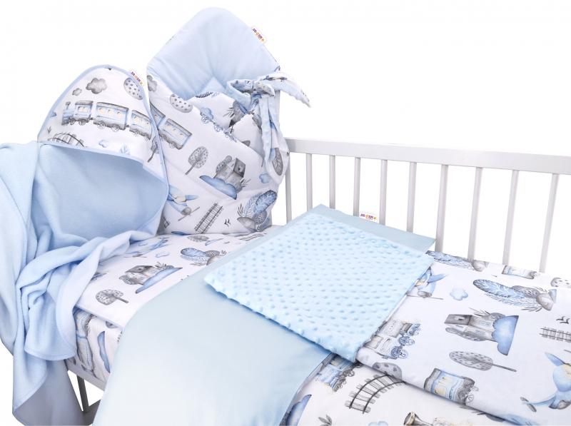 Baby Nellys 6-ti dílná výhodná sada s dárkem pro miminko, 135 x 100 cm - Vláček, modrý
