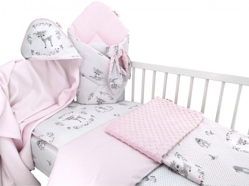 Baby Nellys 6-ti dílná výhodná sada s dárkem pro miminko, 120 x 90 cm - Koloušek, růžový