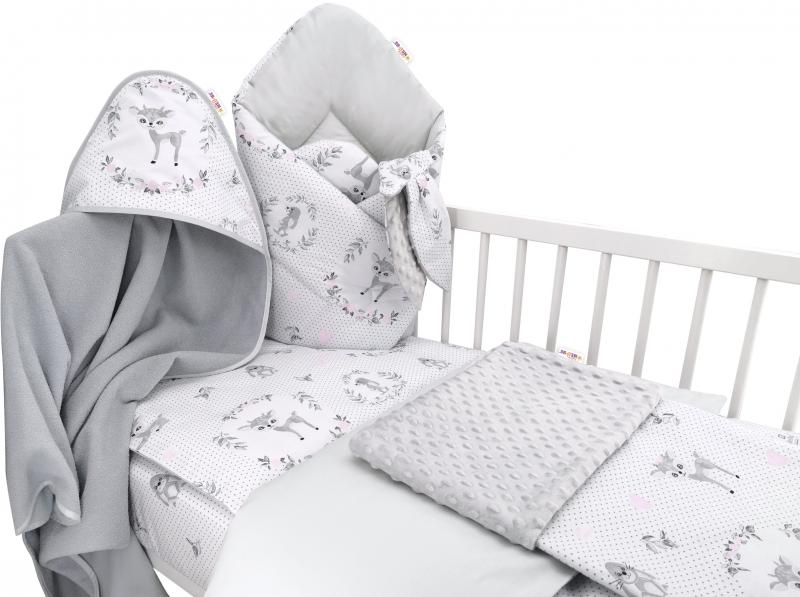 Baby Nellys 6-ti dílná výhod. sada s dárkem pro miminko, 135 x 100 - Koloušek, růžová/šedá