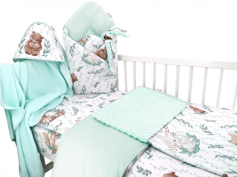 Baby Nellys 6-ti dílná výhod. sada s dárkem pro miminko, 120 x 90, LULU natural - mátová