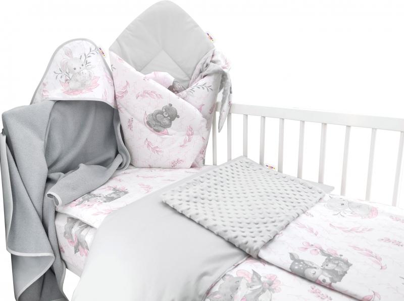 Baby Nellys 6-ti dílná výhod. sada s dárkem pro miminko, 120 x 90, LULU, růžová,šedá