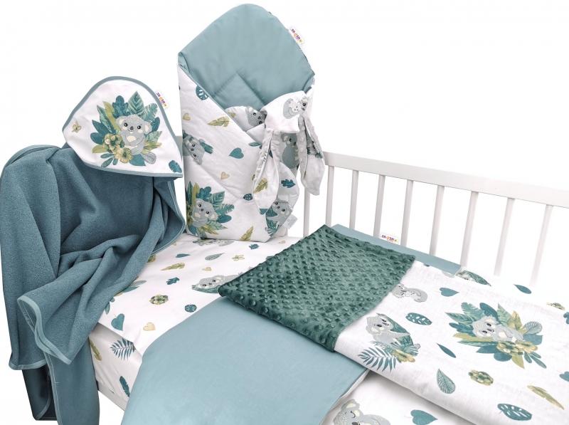 Baby Nellys 6-ti dílná výhod. sada s dárkem, 135 x 100, Tropical Koala - zelená, bílá