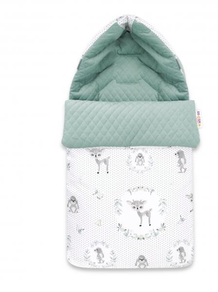 Baby Nellys Bavlněný fusak, prošívaný velvet, 45 x 95 cm - Koloušek, mátová