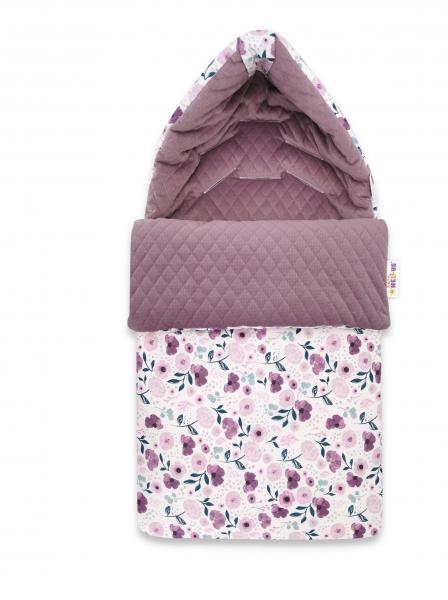 Baby Nellys Bavlněný fusak, prošívaný velvet, 45 x 95 cm - Luční kvítky, fialová