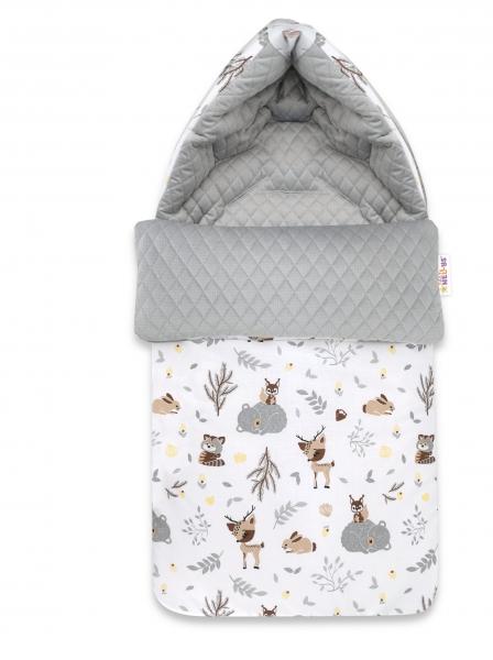 Baby Nellys Bavlněný fusak, prošívaný velvet, 45 x 95 cm - New Forest Friends, šedá