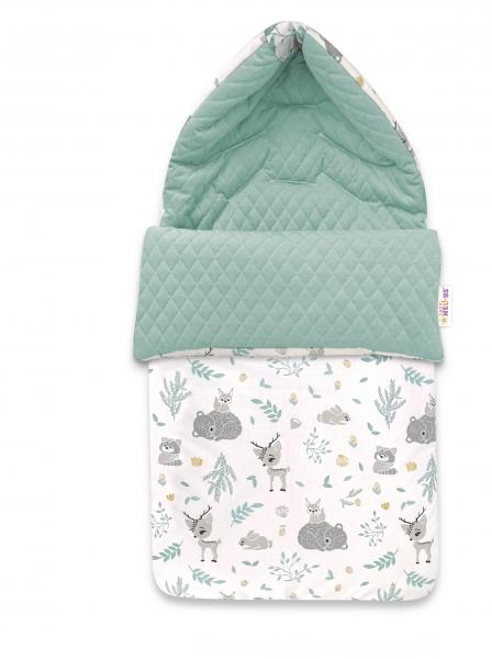 Baby Nellys Bavlněný fusak, prošívaný velvet, 45 x 95 cm - New Forest Friends, mátová