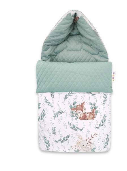 Baby Nellys Bavlněný fusak, prošívaný velvet, 45 x 95 cm - LULU natural, mátová