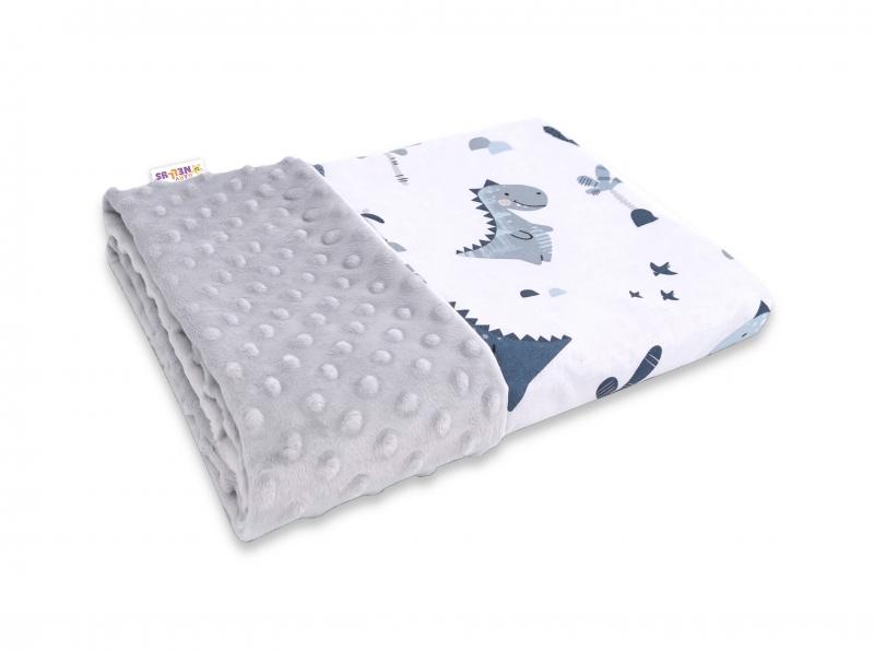 Baby Nellys Bavlněná deka s Minky 100x75cm, Dino -  granát, šedá