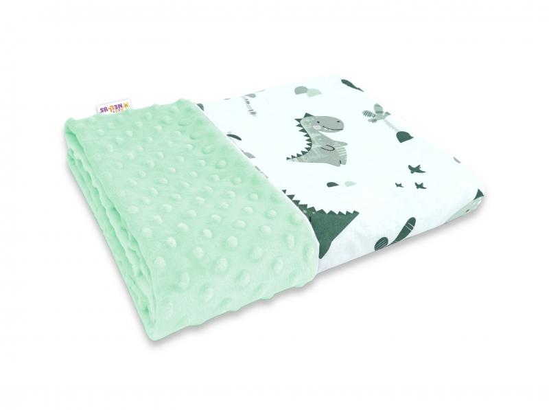 Baby Nellys Bavlněná deka s Minky 100x75cm, Dino - mátová