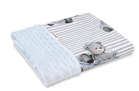 Baby Nellys Bavlněná deka s Minky 100x75cm, Baby Car - modrá