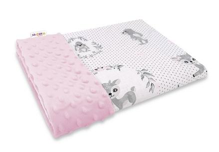Baby Nellys Bavlněná deka s Minky 100x75cm, Koloušek, růžová