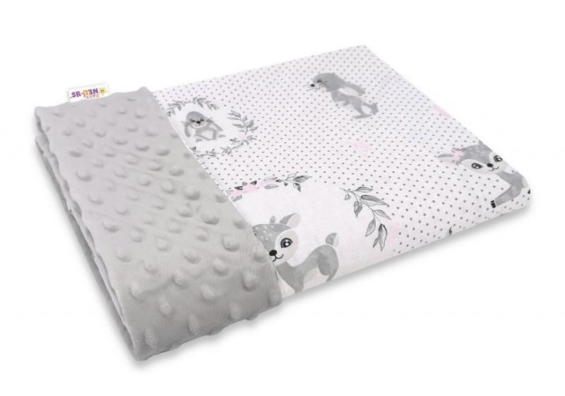 Baby Nellys Bavlněná deka s Minky 100x75cm, Koloušek, šedá,růžová