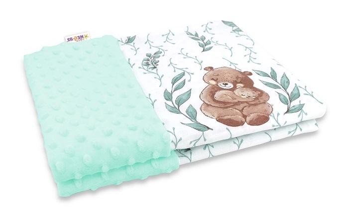 Baby Nellys Bavlněná deka s Minky 100x75cm, LULU natural, mátová
