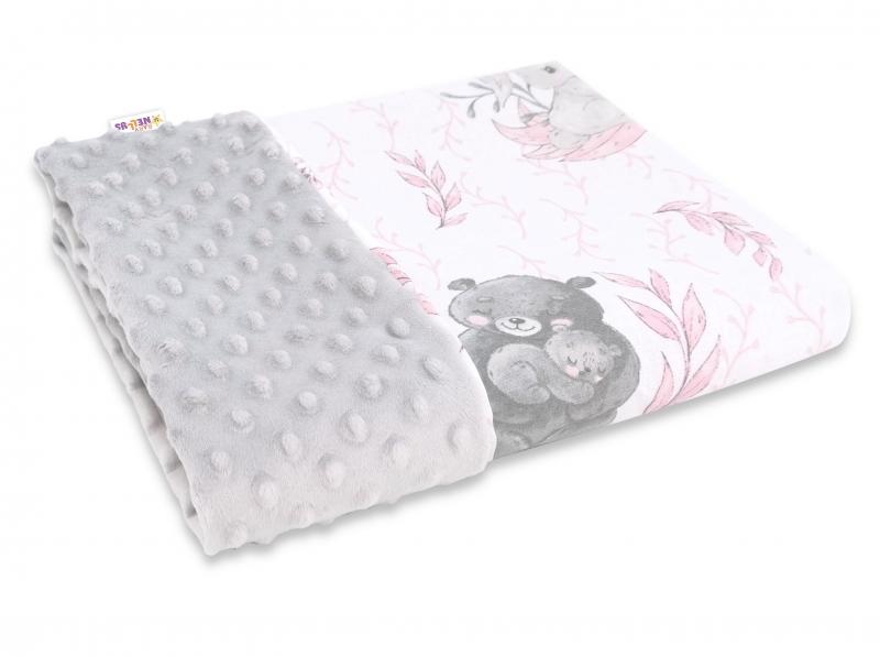 Baby Nellys Bavlněná deka s Minky 100x75cm, LULU natural, růžová, šedá