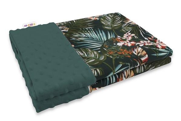 Baby Nellys Bavlněná deka s Minky 100x75cm, Papoušek - zelená