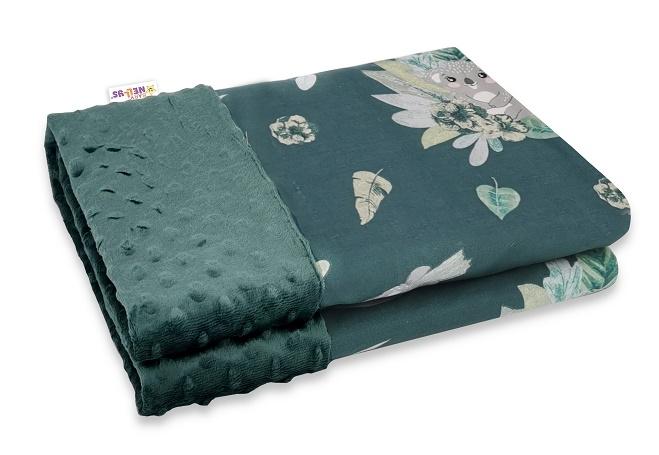 Baby Nellys Bavlněná deka s Minky 100x75cm, Tropical Koala - zelená