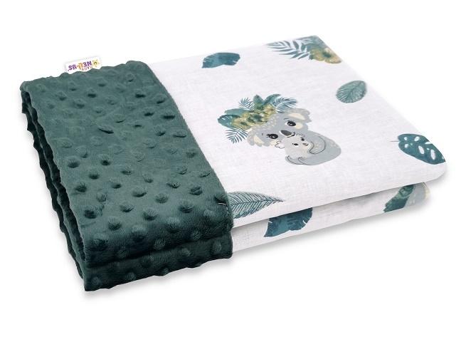 Baby Nellys Bavlněná deka s Minky 100x75cm, Tropical Koala - zelená, bílá
