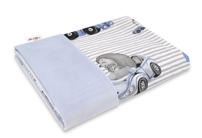 Baby Nellys Oboustranná deka Bavlna + Velvet 100x75cm, Baby Car - modrá