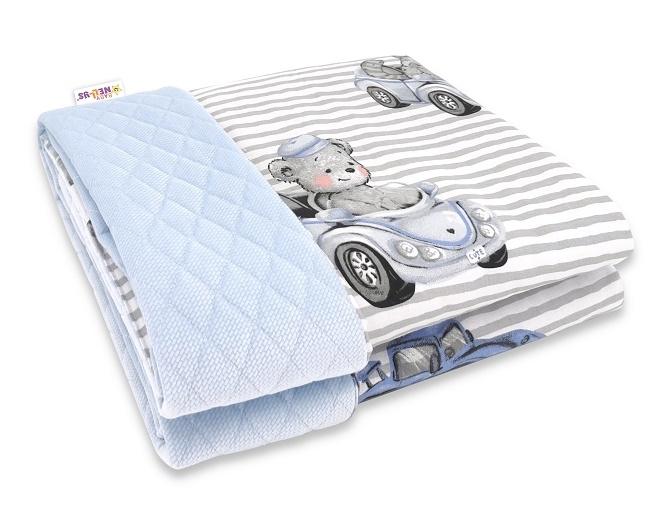 Baby Nellys Oboustranná prošívaná deka Bavlna + Velvet 100x70cm, Baby Car - modrá