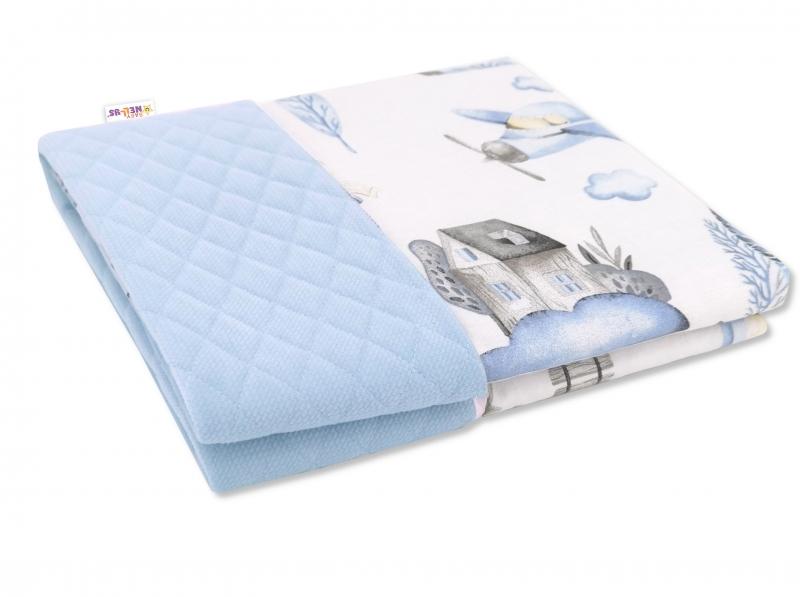 Baby Nellys Oboustranná prošívaná deka Bavlna + Velvet 100x70cm, Vláček, modrá