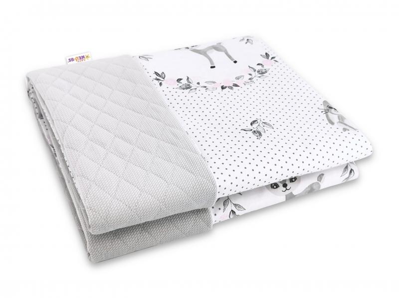 Baby Nellys Oboustranná prošívaná deka Bavlna + Velvet 100x70cm, Koloušek - šedo,růžová