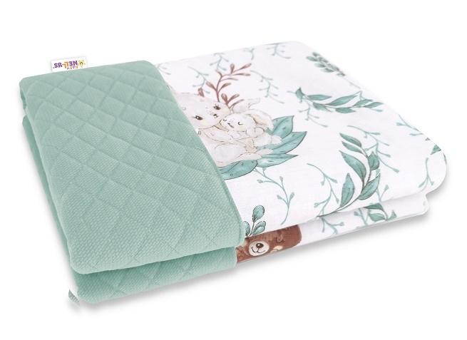 Baby Nellys Oboustranná prošívaná deka Bavlna + Velvet 100x70cm, LULU natural, zelená