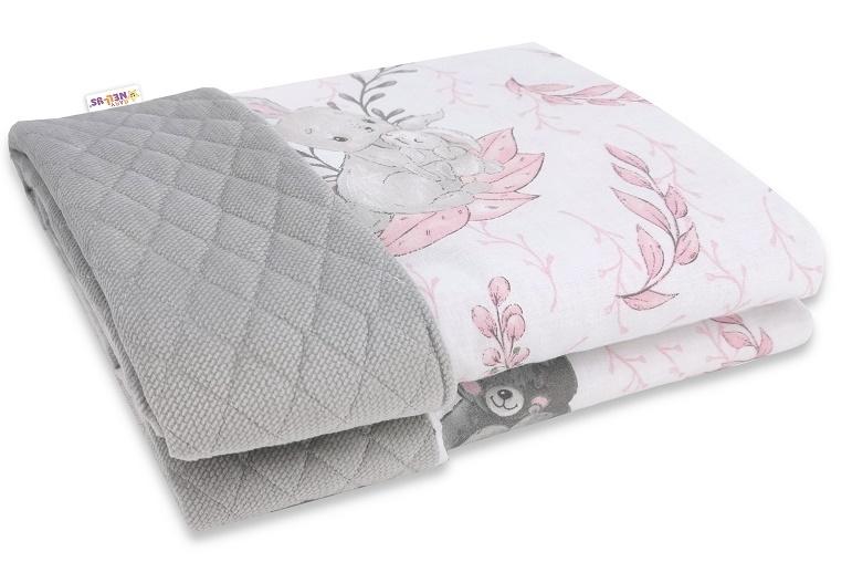 Baby Nellys Oboustranná prošívaná deka Bavlna + Velvet 100x70cm, LULU natural, šedo-růžová