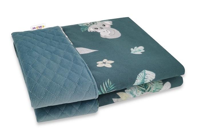 Baby Nellys Oboustranná prošívaná deka Bavlna + Velvet 100x70cm, Tropical Koala - zelená